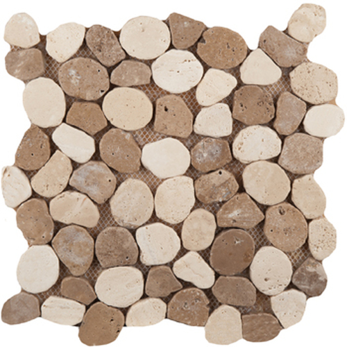 "Emser Tile Trav Ancient Tumbled Stone & Pattern Mosaic Blends 12"" x 12"" Trav Pebble Beige/Mocha on Mesh"