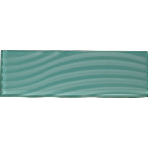 """American Olean Color Appeal Abstracts Fountain Blue 4"""" x 12"""" Glass Tile"""