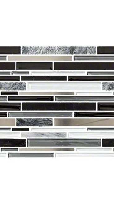 """Shaw Marvelous Mix Arctic Night 12"""" x 12"""" Stainless Mosaic"""