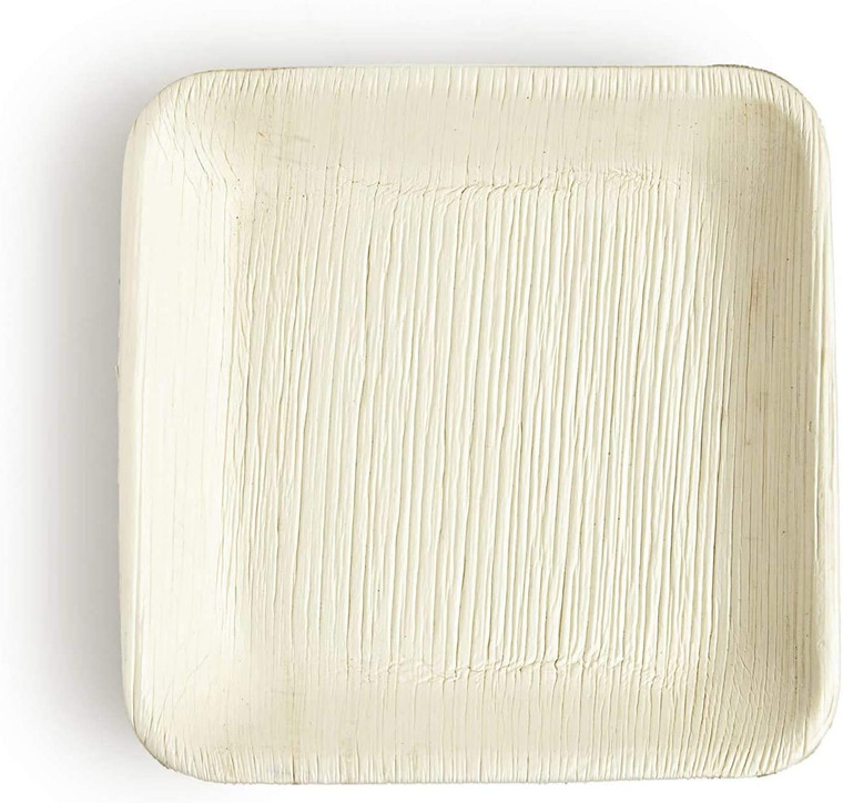 """AllyCafe- Palm Leaf Plates, Bamboo-Style, Upscale Disposable Dinnerware; All-natural Biodegradable Plates (7"""" Square) (25 Pack)"""