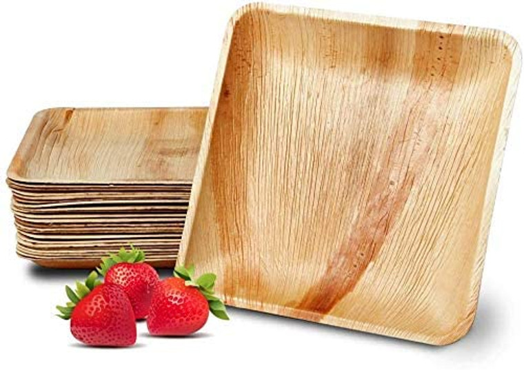 "AllyCafe- Palm Leaf Plates, Bamboo-Style, Upscale Disposable Dinnerware; All-natural Biodegradable Plates (8.5"" Square) (25 Pack)"