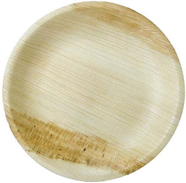 "AllyCafe- Palm Leaf Plates; Bamboo-Style, Upscale Disposable Dinnerware; All-natural Biodegradable Plates (8.5"" Round) (25 Pack)"