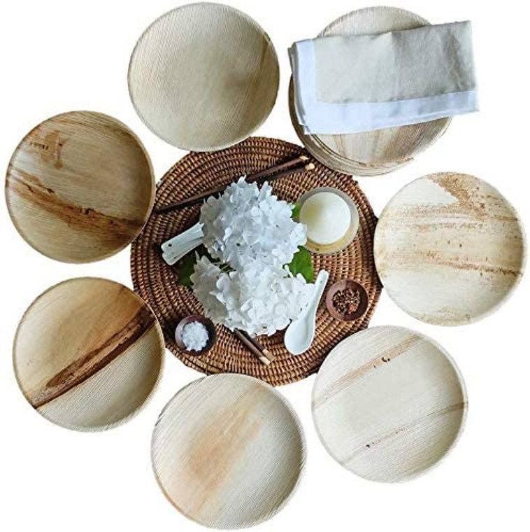 "AllyCafe- Palm Leaf Plates; Bamboo-Style, Upscale Disposable Dinnerware; All-natural Biodegradable Plates (7"" Round) (25 Pack)"