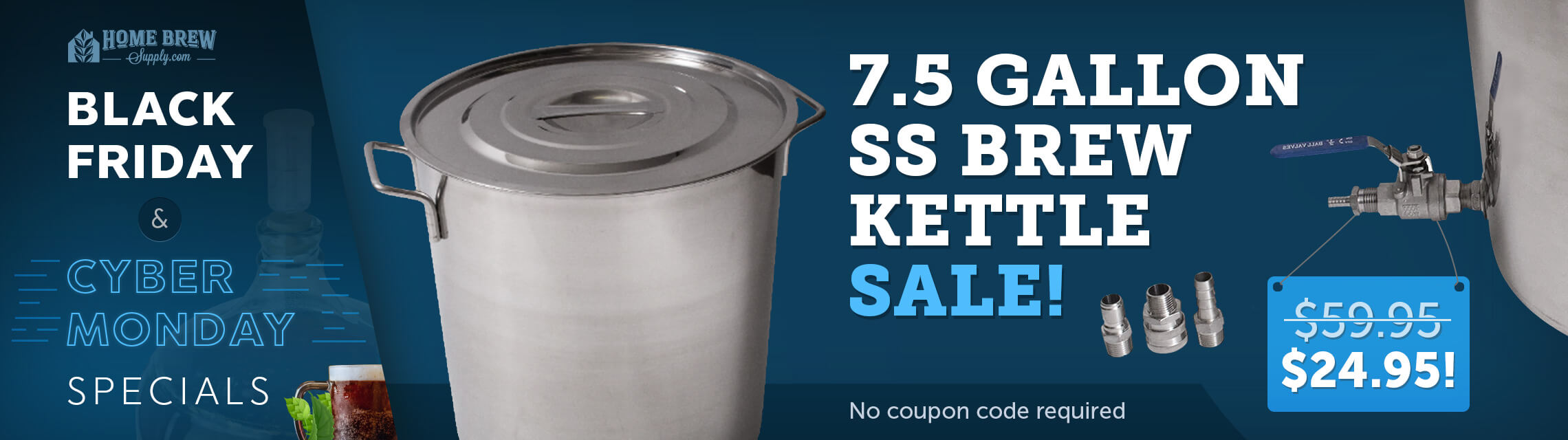7.5 Gallon SS Brew Kettle Sale! Now For Only $24.95!