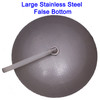 Stainless Steel, domed false bottom.  Easy to remove and clean