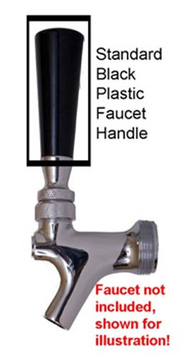 Faucet Handle, Standard, Black with Brass Insert