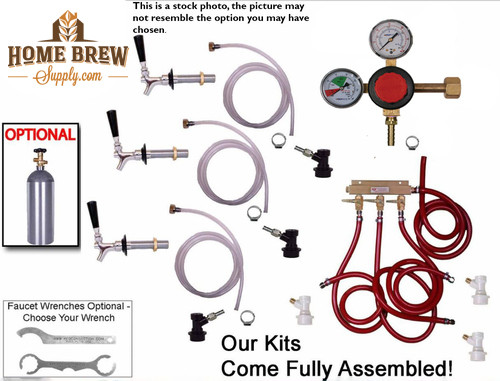 3 Faucet Fridge Homebrew Kegerator Kit