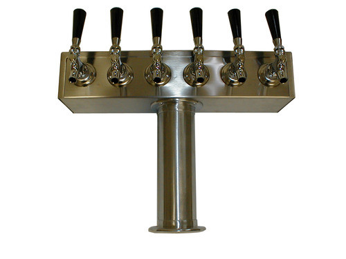 """6 Faucet Beer Tower, 3"""" Stainless Steel """"T"""" Tower"""