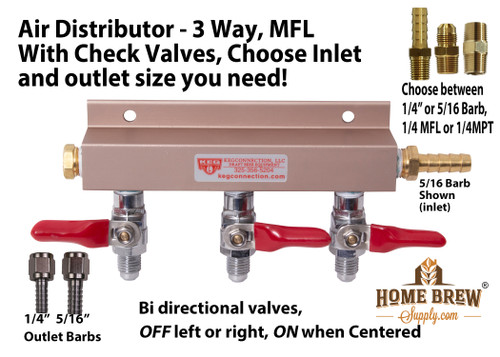 Air Distributor - 3 way, With Check Valves