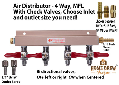 Air Distributor - 4 Way, With Check Valves