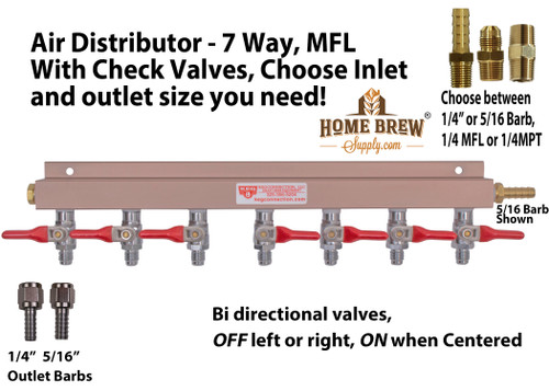 Air Distributor - 7 Way, With Check Valves