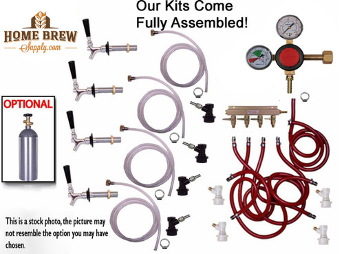 4 Faucet Fridge Homebrew Kegerator Kit