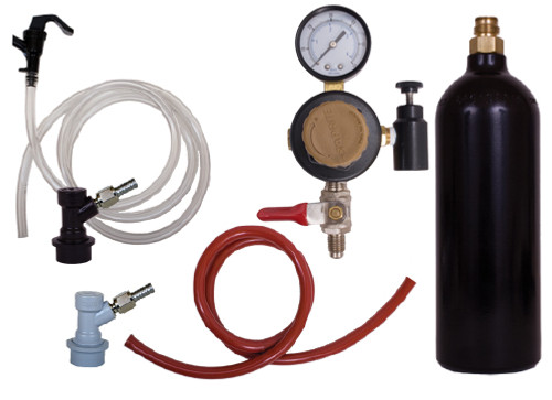Basic Ball Lock Keg Kit w/ a 20oz Pin Valve CO2 Cylinder