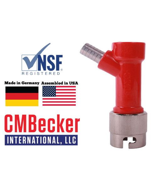 CMB Pin Lock Disconnect Gas 3/8 Barb W/ Metal Collar
