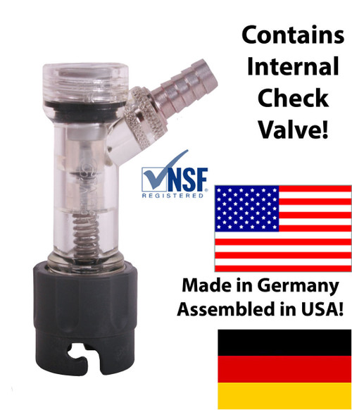 "CMB Check Valved Gas Disconnect, Pin Lock 1/4"" Barb"