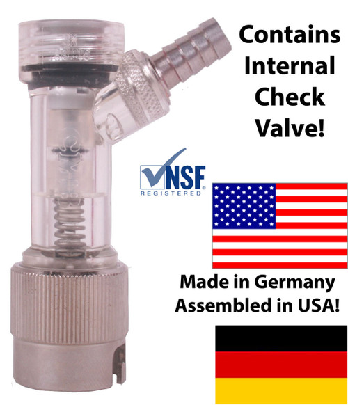 "Check Valved Gas Disconnect, Pin Lock 1/4"" Barb w/ Metal Collar"