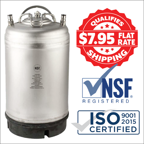 2.5 Gallon New AMCYL Ball lock Keg with Rugged SS Handle