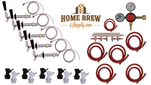 5 Faucet Fridge Homebrew Kegerator Kit