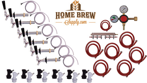 6 Faucet Fridge Homebrew Kegerator Kit