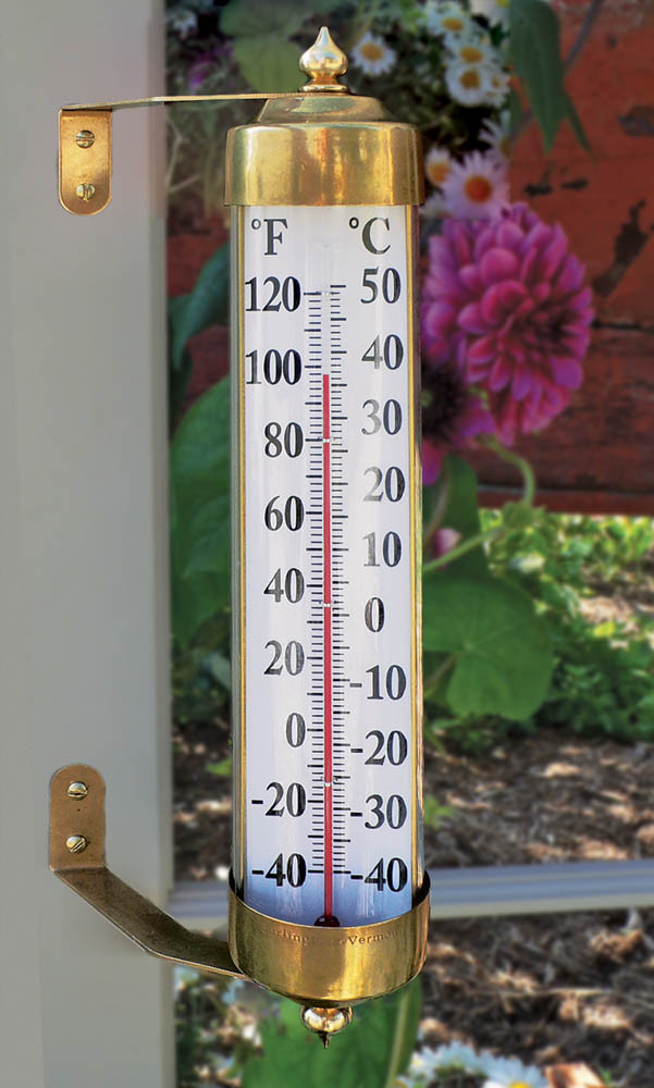 Vermont Grande View Thermometer - Brass