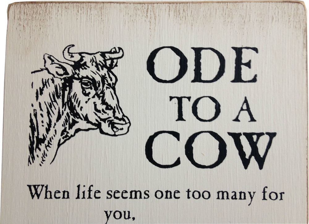 Almanac Wooden Sign - Ode to a Cow