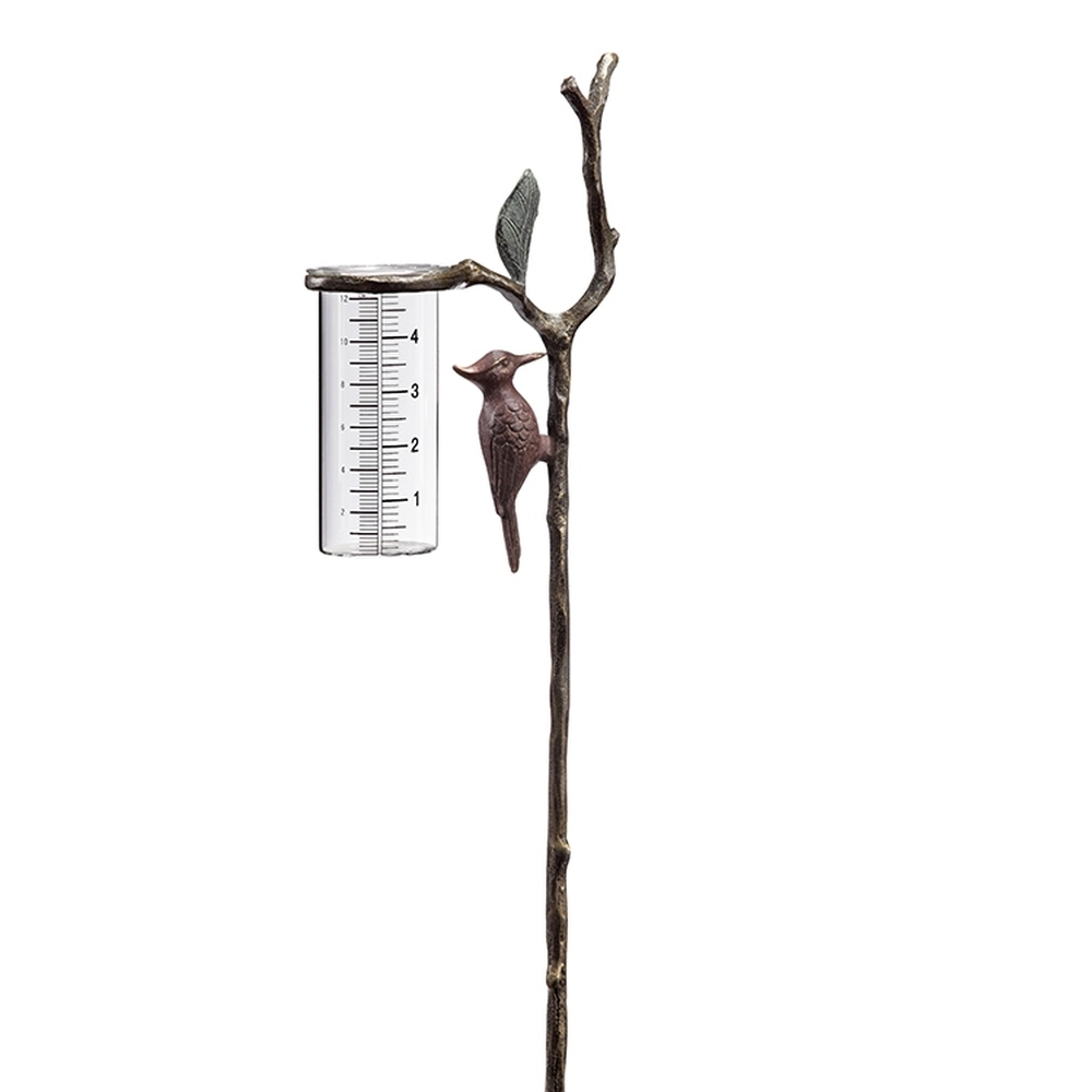 Woodpecker Wide Mouthed Rain Gauge on Stake