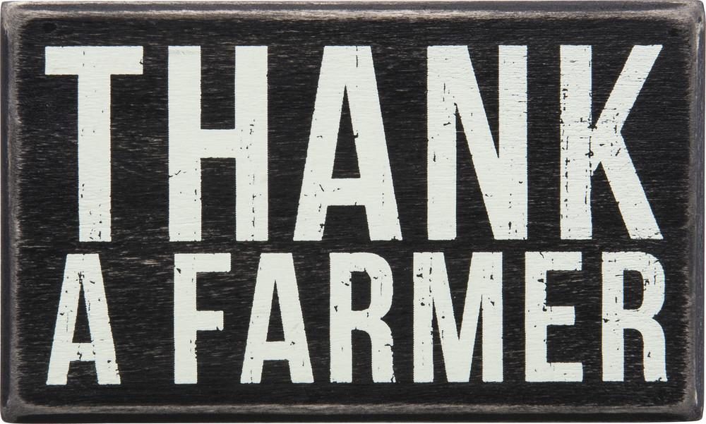 Box Sign - Thank a Farmer (small shelf sitter)