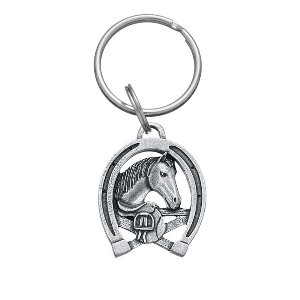 Horseshoe and Horse Pewter Keyring