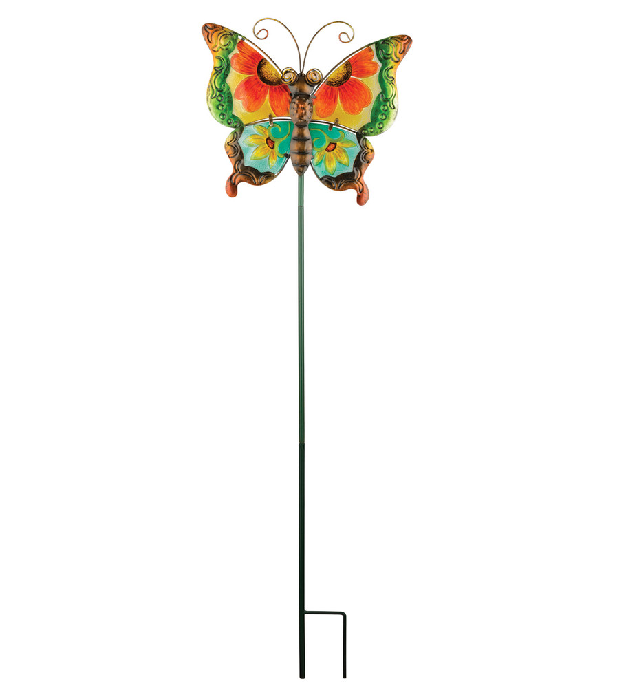Floral Butterfly Stake - Green