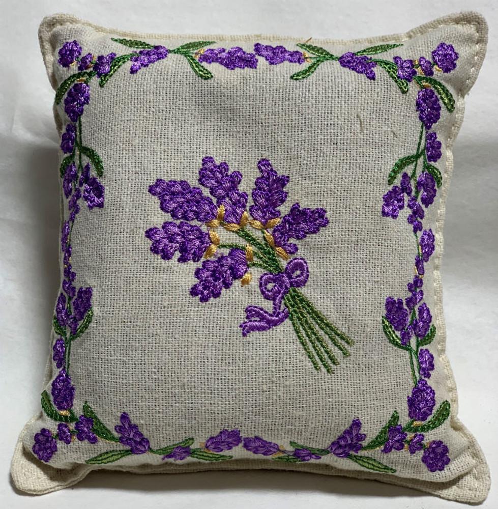 Lavender Embroidered - Balsam Fir & Lavender Filled Pillow