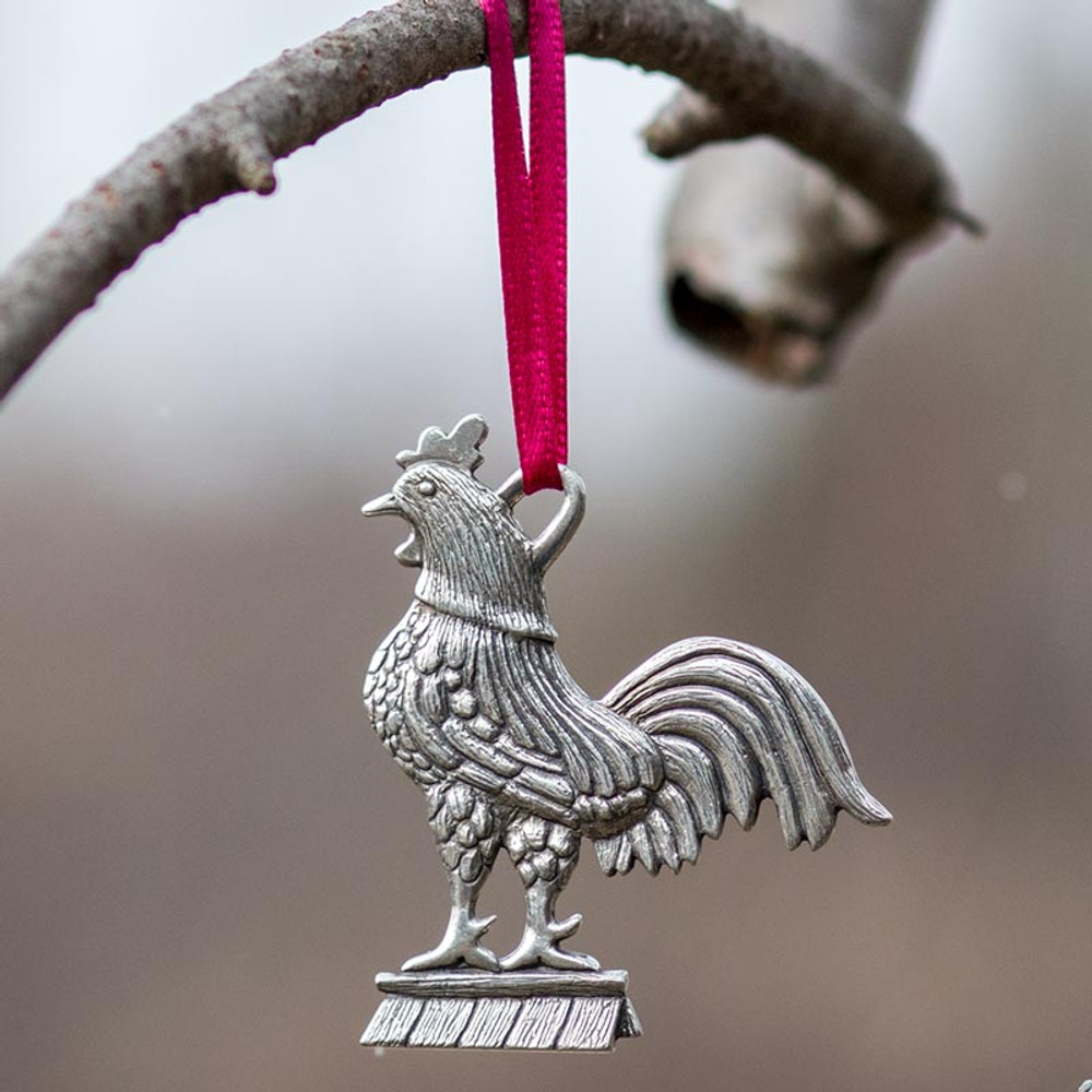 Rooster Pewter Ornament