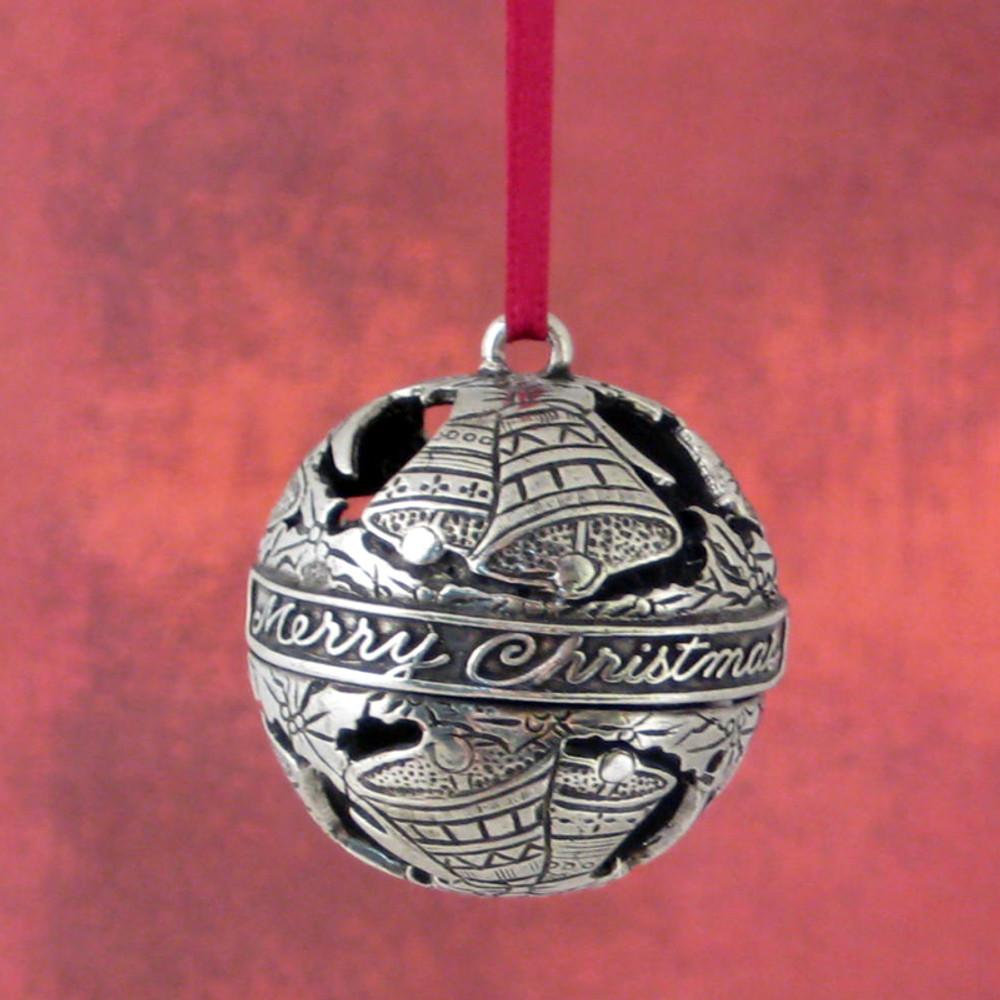 Christmas Bells Globe Pewter Ornament
