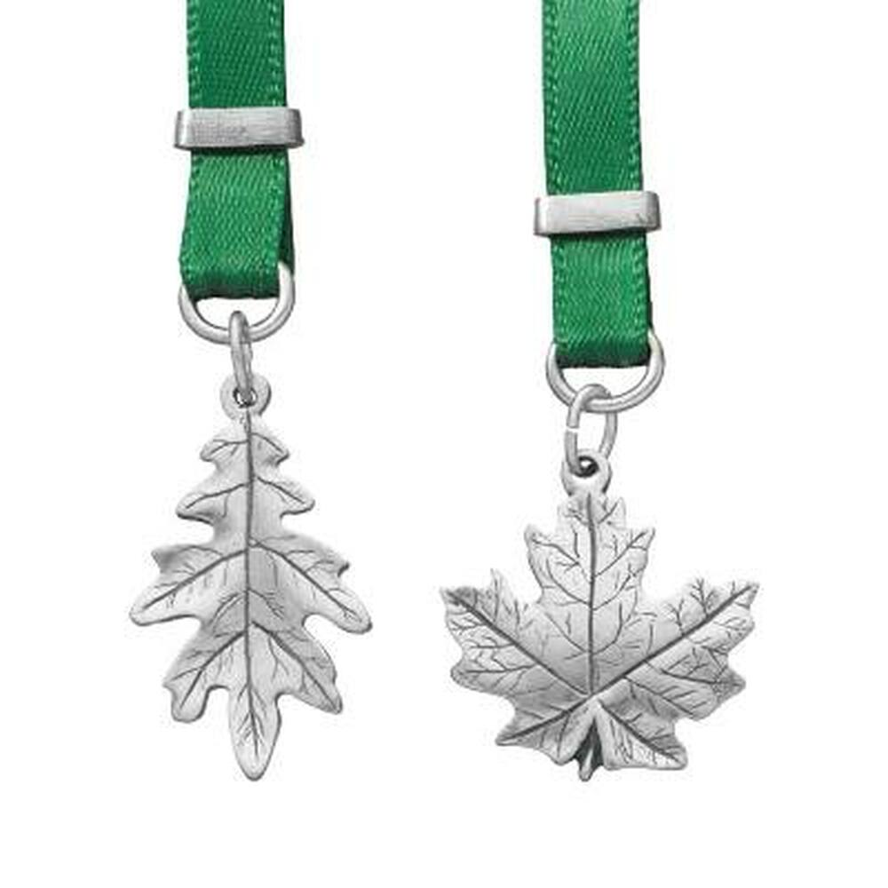Leaves Pewter and Ribbon Bookmark