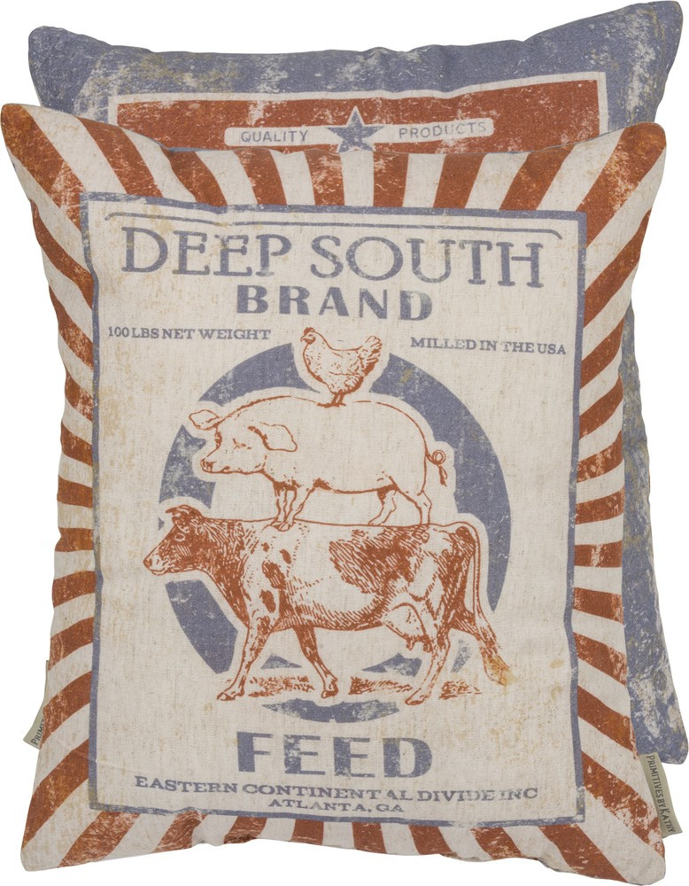 Feed Sack Pillow - Deep South