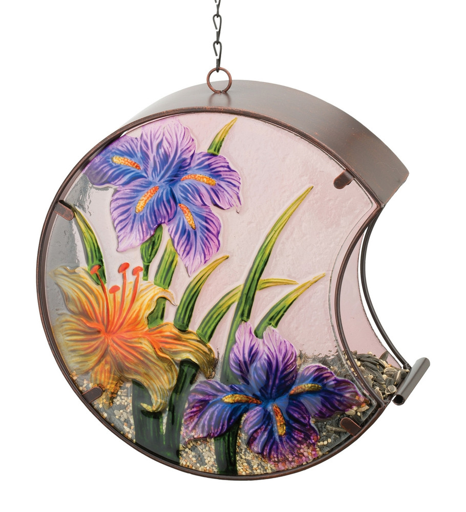 Hand-Painted Bird Feeder - Iris
