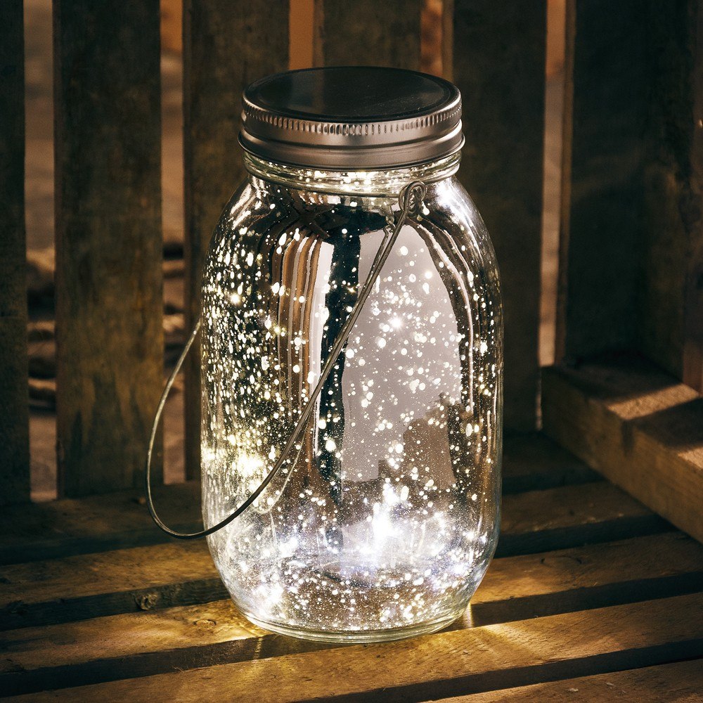 Lighted Silver Mercury Lantern