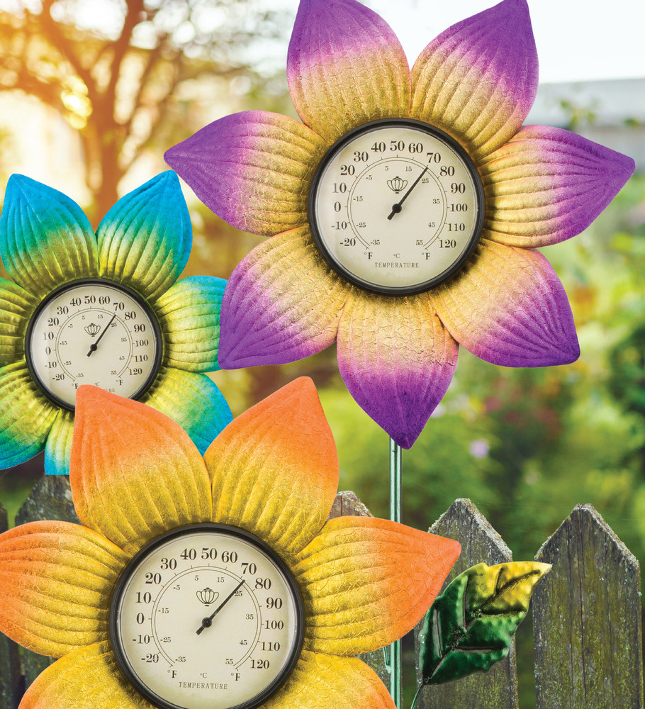 Thermometer Stake - Purple Flower