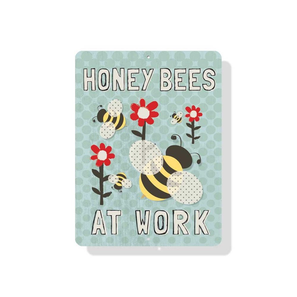 """Honey Bees at Work 9"""" X 12"""" - Mineral Blue"""