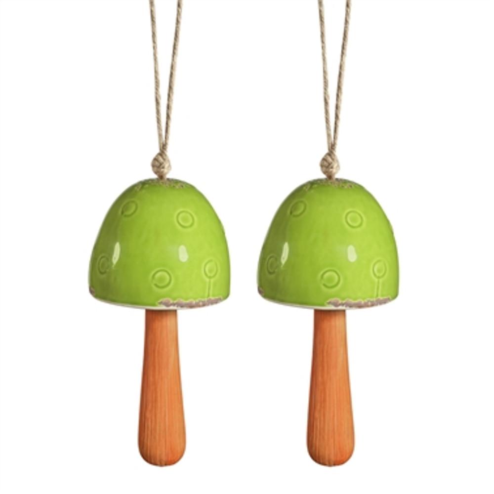 Green Mushroom Windbells Set of 2