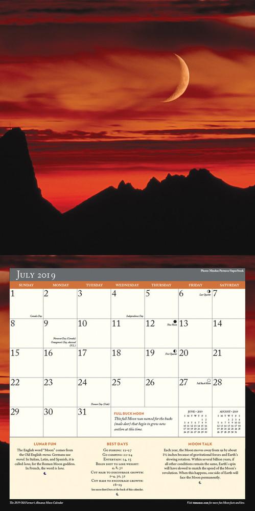 The 2019 Old Farmer's Almanac Moon Calendar