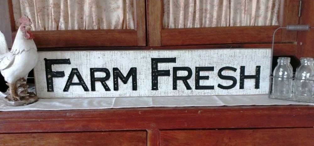 "26"" Farm Fresh Carved Sign"