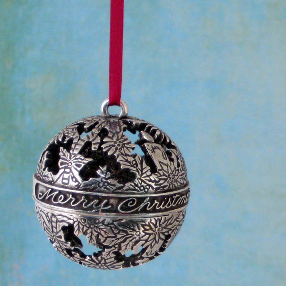 Candy Canes and Candles Globe Pewter Ornament