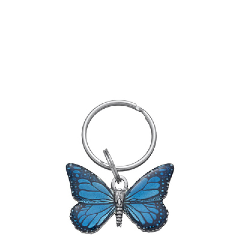 Blue Butterfly Pewter Keyring
