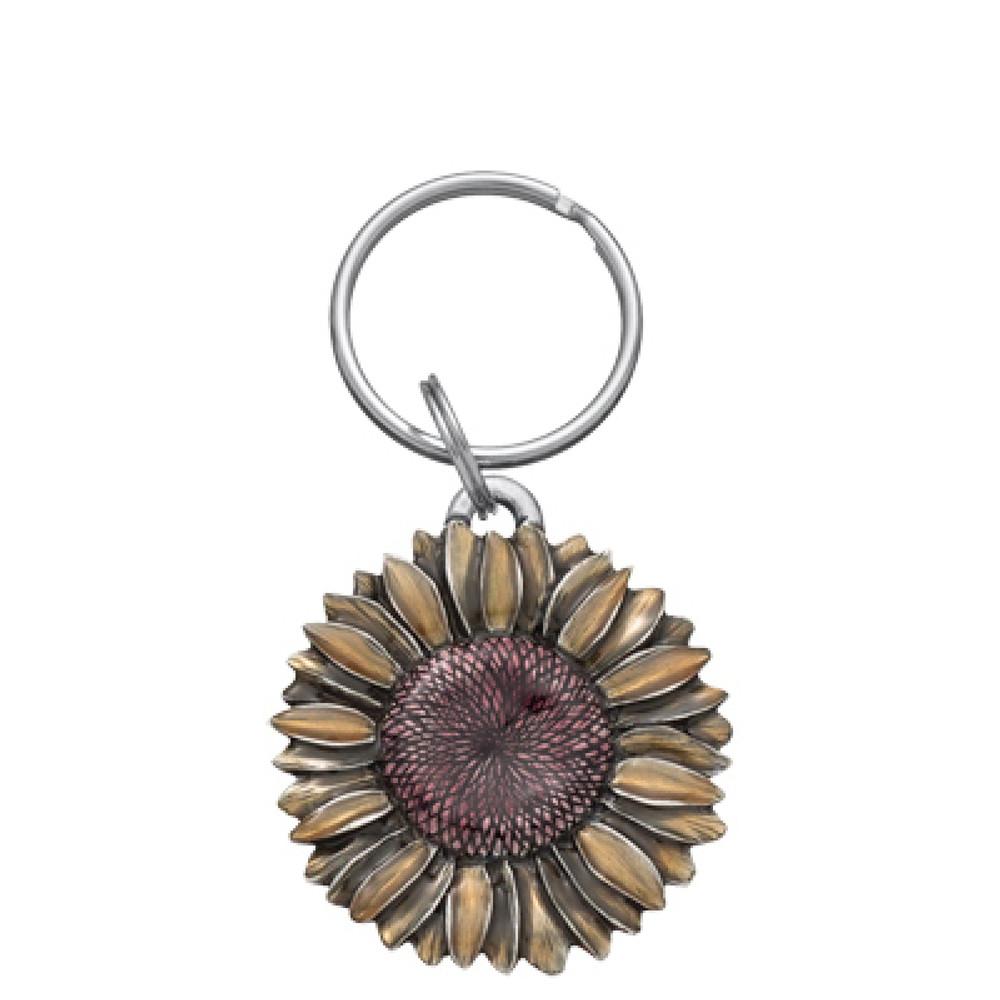 Summer Sunflower Pewter Keyring
