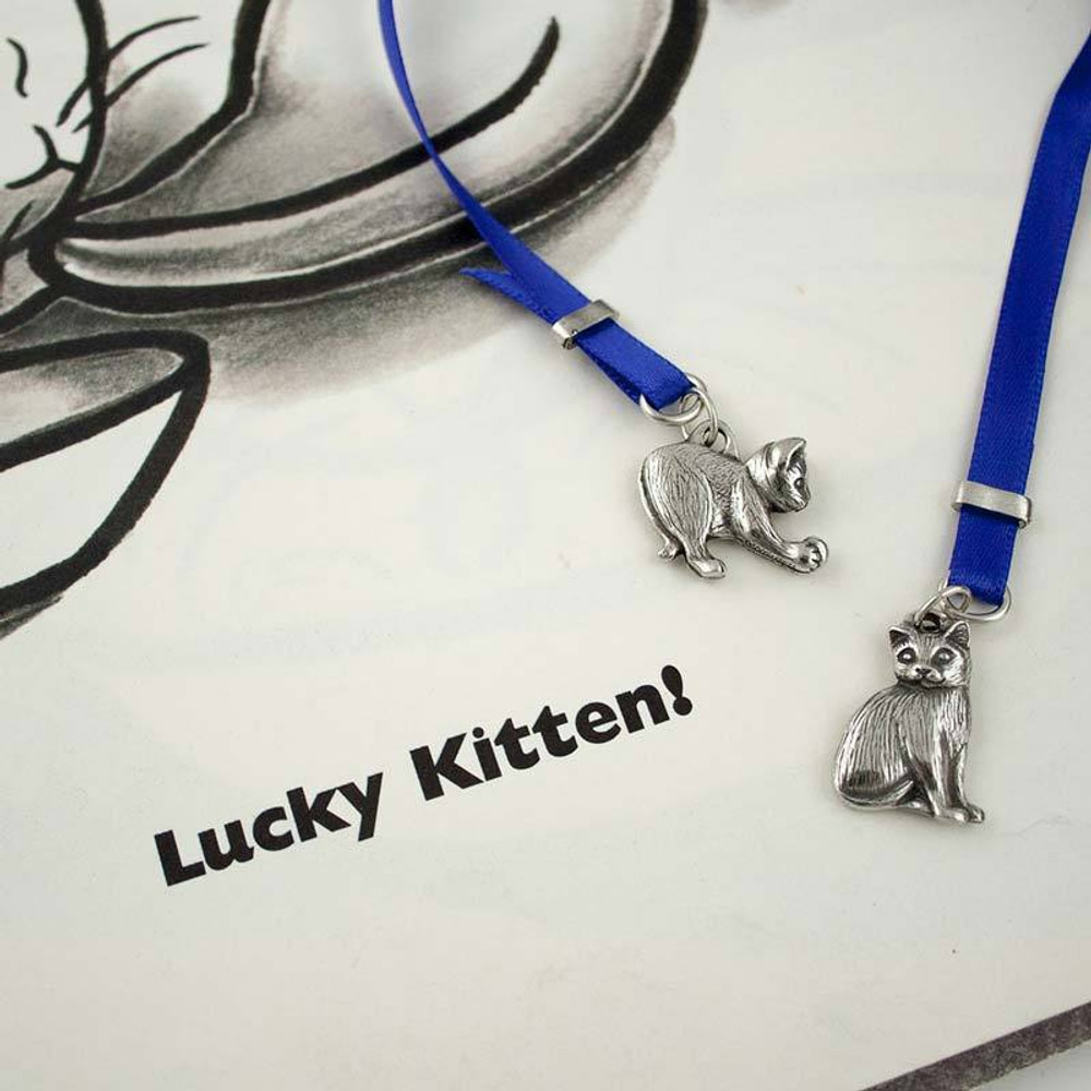 Kittens Pewter and Ribbon Bookmark