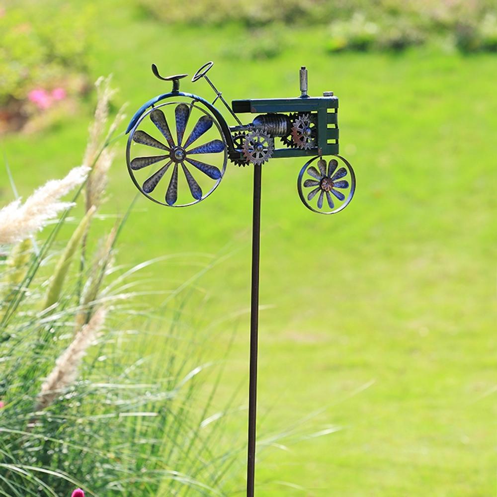 Green Tractor Pinwheel Garden Stake