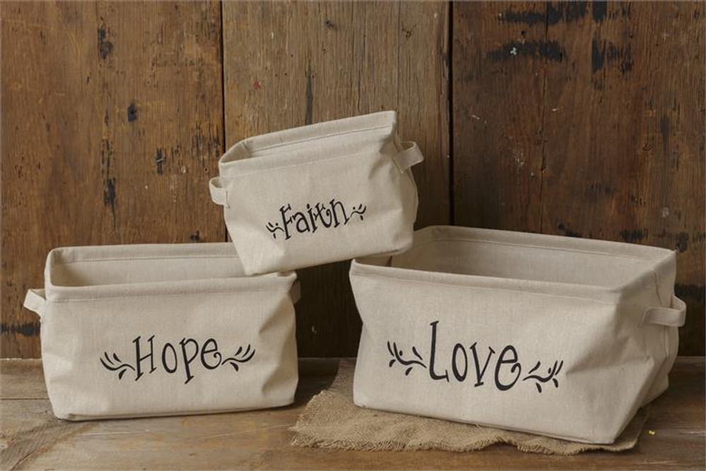Faith Hope Love Collapsible Bins - Set of 3
