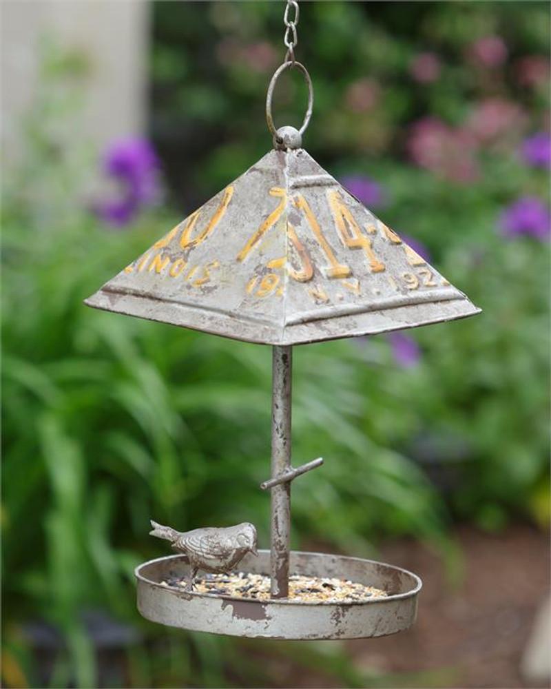 License Plate Roof Bird Feeder