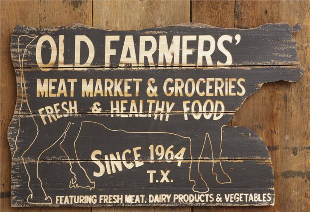 Old Farmers Texas Meat Market Sign