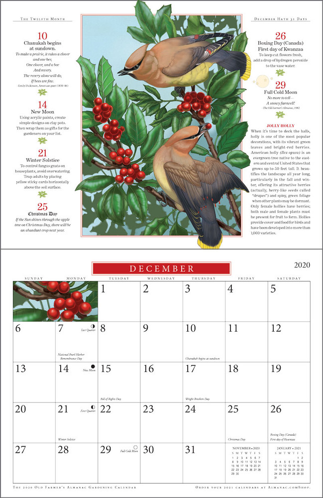 2020 Almanac Gardening Calendar